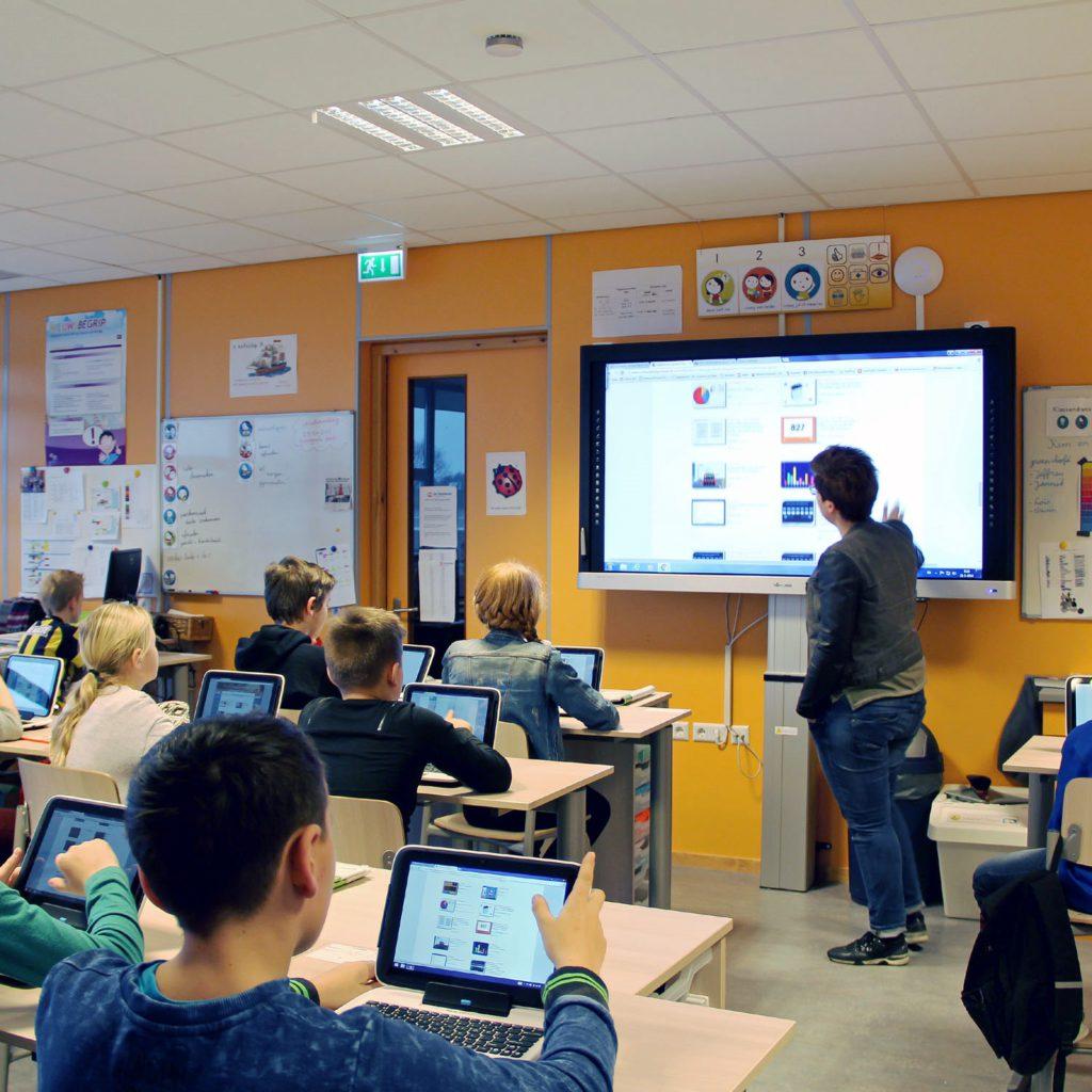 Lesgeven met touchscreens voor onderwijs